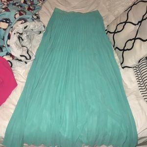Lauren Conrad aqua sheer pleated maxi skirt M